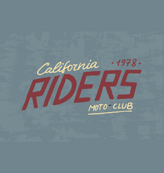 rider or biker club template vintage custom vector image