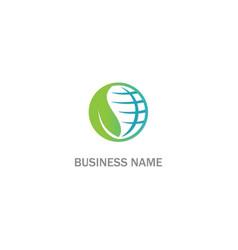 round globe eco green leaf logo vector image