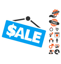Sale signboard icon with lovely bonus vector