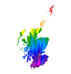 Scotland - map is designed rainbow abstract vector