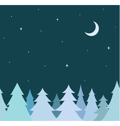 Seamless border from blue tree and night sky vector