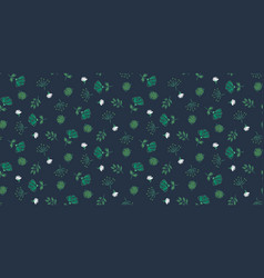 seamless floral dark blue pattern hand vector image