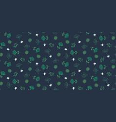 seamless floral dark blue pattern hand vector image
