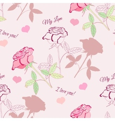 Seamless pattern with pink rose2-2 vector image vector image