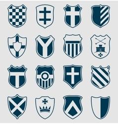 Set of blue heraldic shields vector
