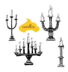 Set of candlesticks with candles vector image