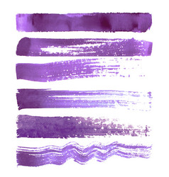 Set of purple brush strokes vector