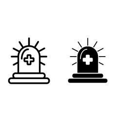 Siren with cross line and glyph icon emergency vector