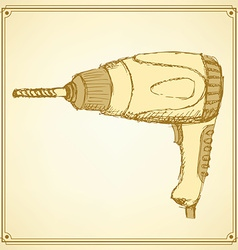 Sketch drill tool in vintage style vector image