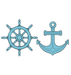 Steering wheel and anchor blue vector