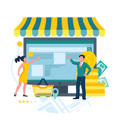 store business online e-commerce concept man and vector image