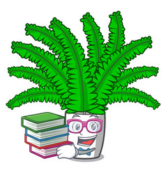 Student with book fresh fern branch isolated on vector