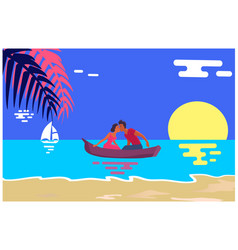 summer love banner with kissing couple in boat vector image