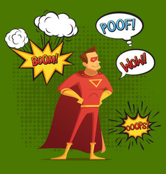 super hero composition comic style vector image