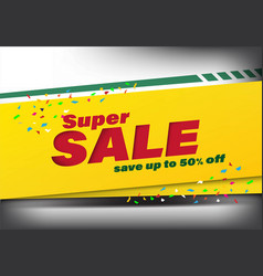 super sale template banner special discount up to vector image