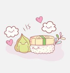 sushi and wasabi menu restaurant food cute vector image
