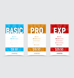 Template of price tables for the basic vector