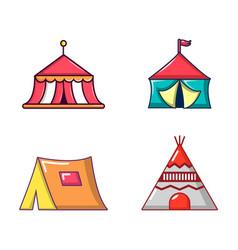 tent icon set cartoon style vector image