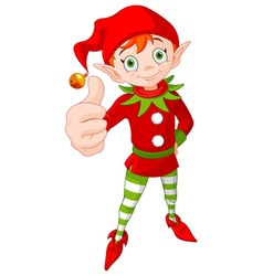 Thumb Up Christmas Elf vector image