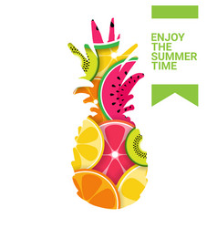 tropical pineapple fruits colorful enjoy summer vector image
