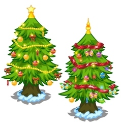 Two Christmas tree with toys on a white background vector image