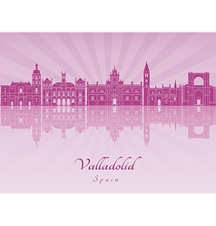 Valladolid skyline in purple radiant orchid vector image