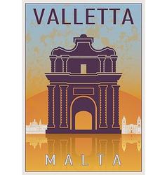 valletta vintage poster vector image