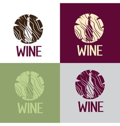 wine bootle in wooden log vector image