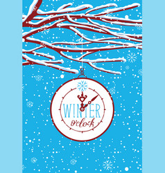 winter banner with snow-covered branches of tree vector image