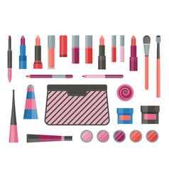 Women lips make-up cosmetic flat icon set vector
