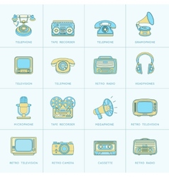 Retro Media Flat Line Icons vector image