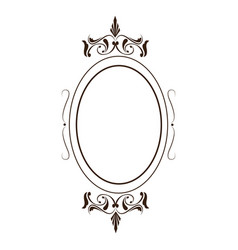retro oval frame classic ornate element line vector image