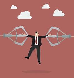 Robotic claws are tear businessman apart vector