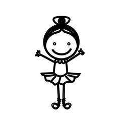 sketch silhouette girl ballet dancer vector image vector image