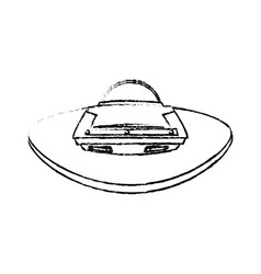 Ufo spaceship icon in cartoon style on a white vector