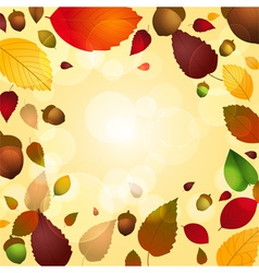 Autumn leaf and acorn background vector image