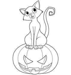 Halloween cat on pumpkin coloring page vector