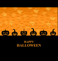 halloween greeting pumpkins card vector image vector image