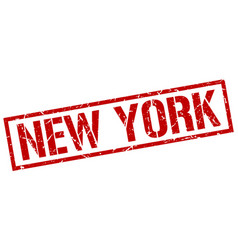 New york red square stamp vector
