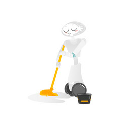 Wheeled robot assistant washing floor with a mop vector