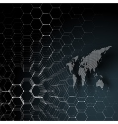 White dotted world map connecting lines and dots vector image