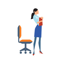 young business woman near chair in flat design vector image