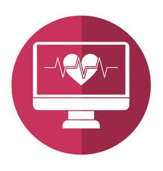 monitor heartbeat cardiology rhythm shadow vector image vector image