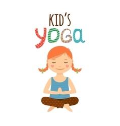 Yoga kids logo design with girl vector image vector image