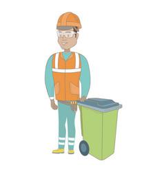 young hispanic builder pushing recycle bin vector image vector image