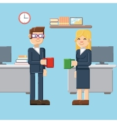 break male and female characters in the office vector image vector image