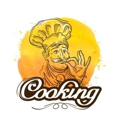 restaurant logo design template cooking vector image vector image