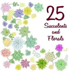 Succulent garden clip art flowers element set vector image vector image