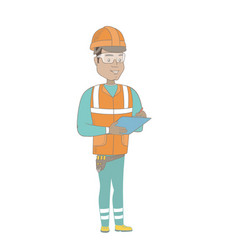 young hispanic building inspector with clipboard vector image vector image