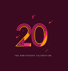 20 year retro anniversary celebration template vector